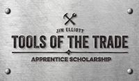 Metal plague that says Jim Elliott Tools of the Trade apprentice scholarship.