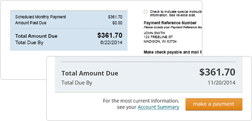 Screen capture of how to make a payment via the new monthly billing statement.
