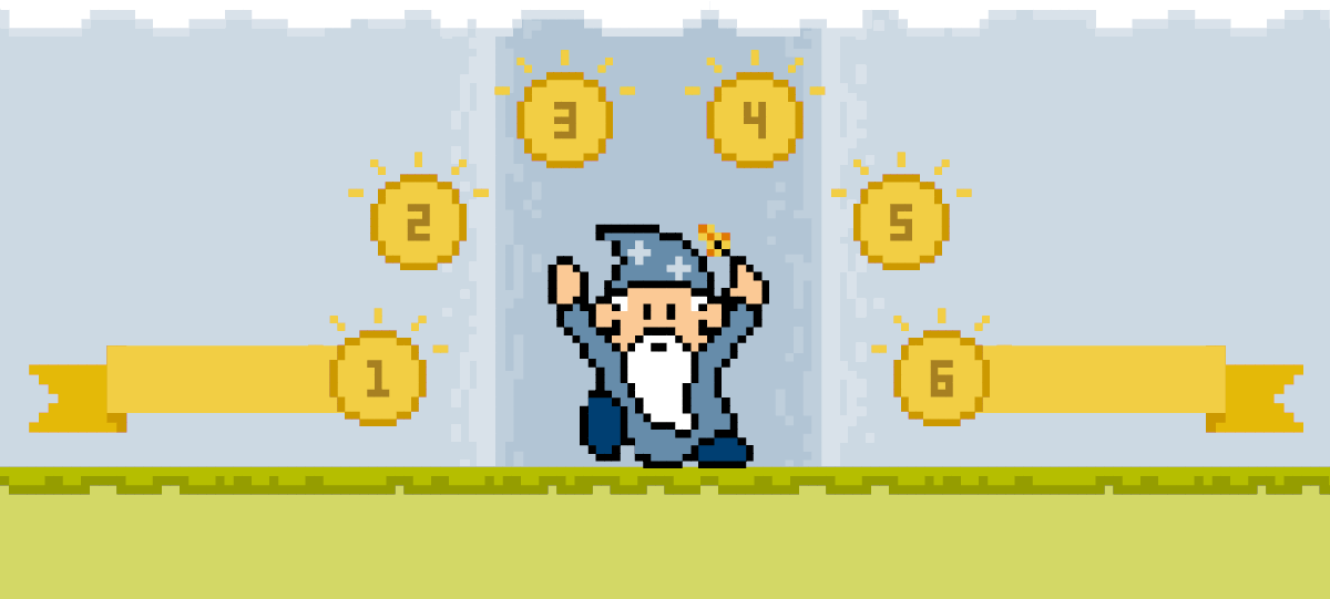 Videogame-style representation of a wizard waving his wand, with the numbers 1, 2, 3, 4, 5, and 6 circling over him