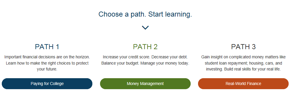 screenshot of sample lesson paths offered by grad ready