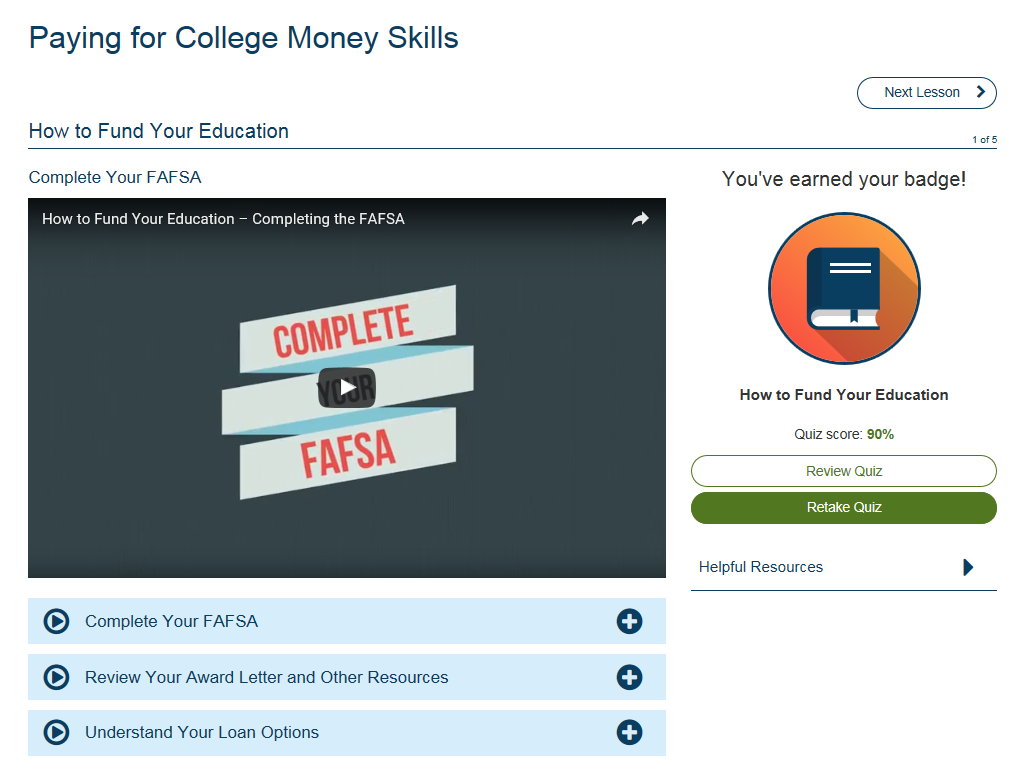 screenshot of sample video lessons available from grad ready