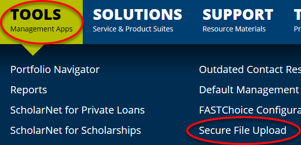 image pointing out where tools and secure file upload are in the Financial Aid Professionals webpage menu